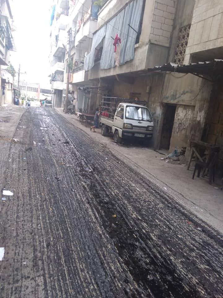 أعمال صيانة وإعادة تأهيل لشوارع متفرقة في منطقة السكنتوري وبستان الحميمي
