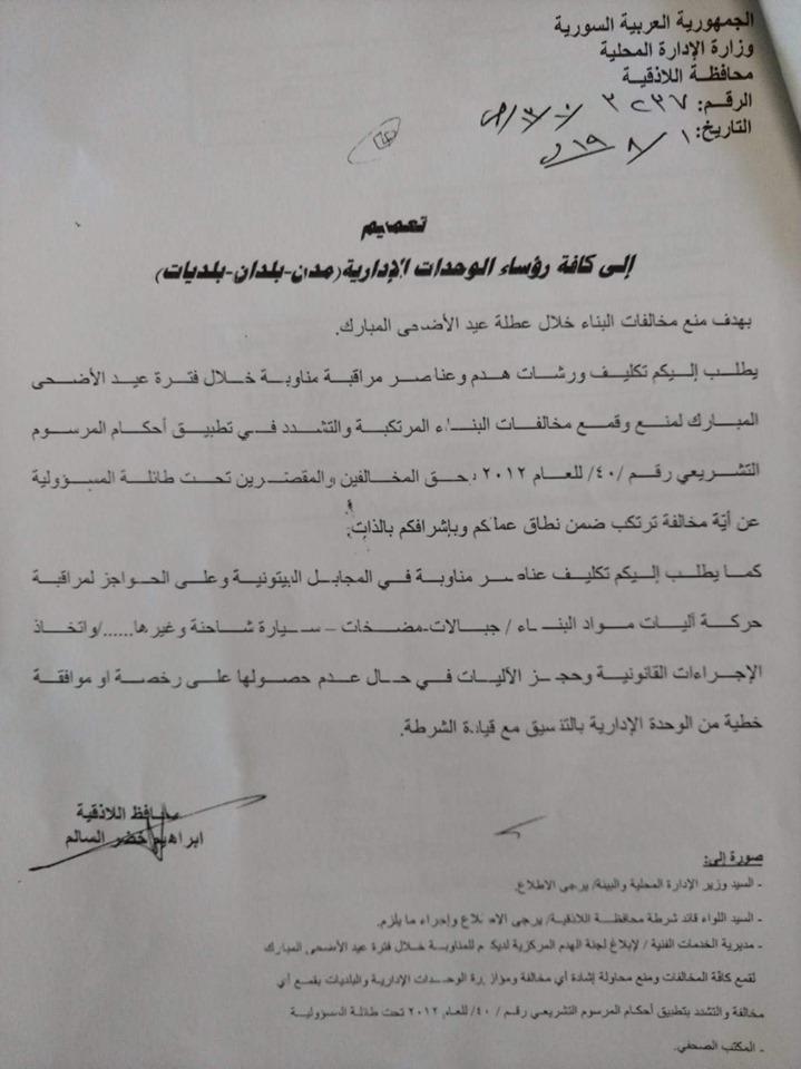 تعميم إلى جميع الوحدات الادارية لمنع مخالفات البناء خلال عطلة عيد الأضحى المبارك